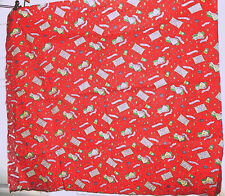 "Vintage Red Novelty Fabric Home Sweet Home Music Notes 1 2/3 Yds 36"" Wide"