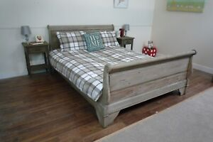 French Style Chantilly Sleigh Bed In A Weathered Oak Finish - Double Bed