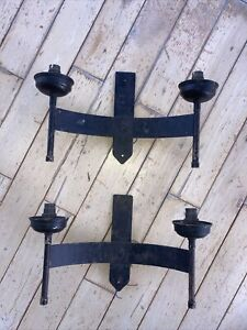 A Pair Of  Vintage Black Wrought Iron Gothic Medieval Style Double Wall Lights.