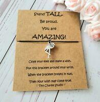 Flamingo Charm Wish Bracelet, Inspirational, Motivational Quote, Friendship Gift
