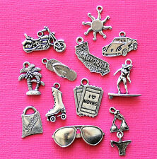 California Charm Collection 12 Tibetan Silver Tone Charms FREE Shipping E113