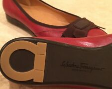 SALVATORE FERRAGAMO Red Leather Ribbon Bows Comfort Ballet Flats ITALY 8AA NEW!!