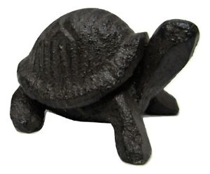 "Tiny Wee Miniature Rustic 2"" Long Solid Cast Iron Turtle Figure"