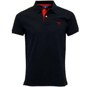 Gant Contrast Collar Pique Rugger Men's Polo Shirt, Navy/red