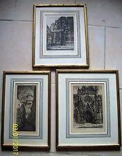 trois anciennes gravures ville de bruxelles signées Henri Mortiaux (1890 - 1965)