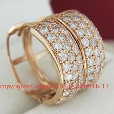 Genuine Solid 9K Rose Gold Wedding Engagement Huggies Hoop Earrings Lab Diamonds