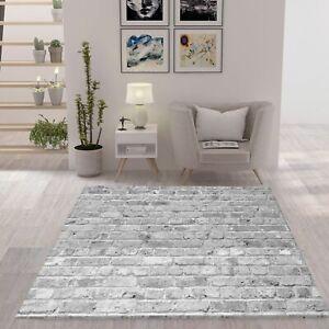 Moderner Teppich Wohnzimmer Stein Optik Mauer Muster Strapazierfähig in Grau