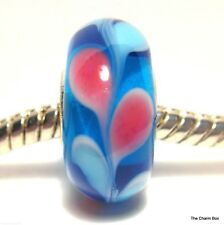 'BLUE LAUREL' Blue/Pink Leaves Murano Glass European Charm Bead -Single Core