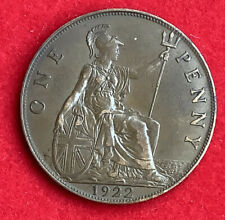 King George V 1922 British Penny In Near Extremely Fine Condition