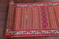 Hand-Woven All-Over Geometric Kilim Oriental 9 ft Runner Rug Wool Carpet 3'x9'