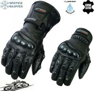 MENS CARBON KNUCKLE THERMAL MOTORBIKE MOTORCYCLE MOTOCROSS LEATHER WINTER GLOVES