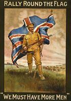 WA39 Vintage WWI Rally Round The Flag British Recruitment Poster WW1 Re-Print A4