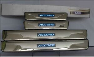 For Honda Accord 2003-2007 BLUE LED Light Outer Stainless Door Sill plate Guard