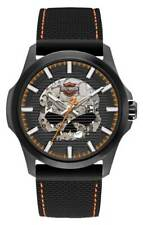 Harley-Davidson Mens Willie Skull Self-Winding Stainless Steel Case Watch 78A118