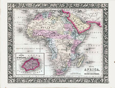 1860 MITCHELL Hand Colored Map of AFRICA Showing the Most Recent Discoveries