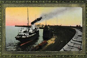 Dover - Steamship at Admiralty Pier - old Tuck post card