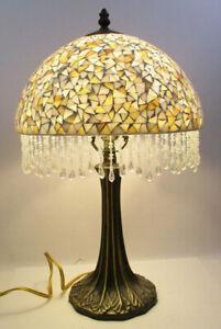 "DALE TIFFANY TABLE LAMP - MOSAIC BEADED GLASS SHADE - 19"" TALL(BMK7)"