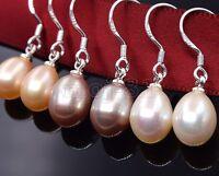 3 Pairs 7-8mm Natural Akoya Freshwater Pearl 925 Sterling Silver Dangle Earrings