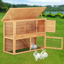 48'' Wooden Pet House Poultry Hutch Rabbits Chickens Wooden Cage w/Run 2 Storey