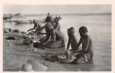 FORT LAMY, CHAD, NATIVE WOMEN WASHING CLOTHES IN CHARI RIVER, RPPC c. 1930's