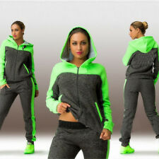 Ladies Women 2Pcs Tracksuit Hoodies Sweatshirt Pants Sets Zip Sport Casual Suit