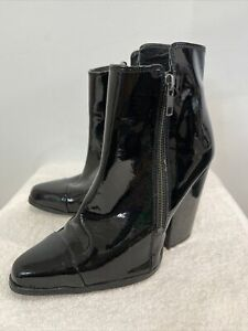 Witchery designer black patent leather block heel zip ankle boots 36 / 5.5 EUC