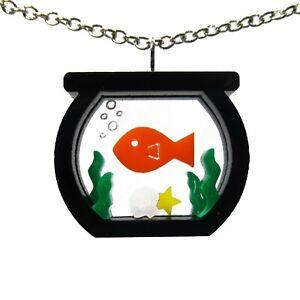 Goldfish Fish Bowl Aquarium Pendant Statement Necklace Fish Tank Summer Jewelry