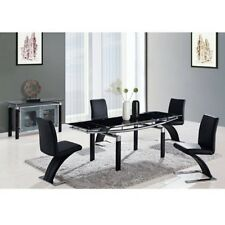 Global Furniture Dining Table, Black Legs, Black Glass D88DT-BL Dining Table NEW