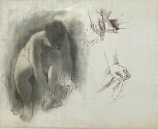 Nude Drying Her Feet Study Oil Crayon & Ink Drawing-1974-August Mosca