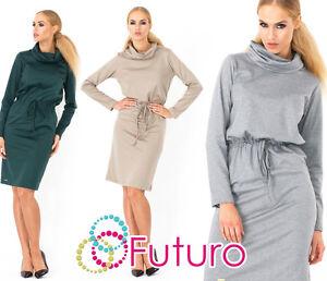 Ladies Elegant Shift Dress With Belt Long Sleeve Cowl Neck Tunic Size 8-14 FA348
