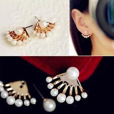 1Pair Fashion Women Lady Elegant Pearl Rhinestone Ear Stud Earrings Jewelry