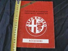 LISTINO PREZZI ALFA ROMEO ACCESSORI ORIGINALI 1 MAGGIO 1991 OLD ITALY