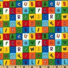 Letters Alphabets in Bright Color Blocks Back To School Cotton Fabric Timeless