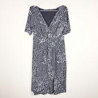 Fresh Produce Women's Gray Printed Stretch Faux Wrap Dress Short Sleeve Sz Small
