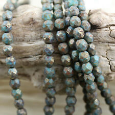 4mm, 6mm PICASSO Faceted Round Fire Polished Czech glass beads