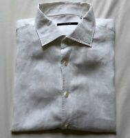 PAL ZILERI SHIRT WHITE LINEN LONG SLEEVE SIZE L (48) RRP £110