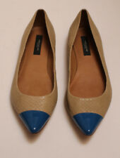 Womens ANN TAYLOR Beige trimmed with Blue Tip Flat Shoes Size 7 M Leather Upper