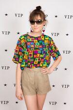 Bright multi coloured vintage geometric print silk top by Laura & Jayne  M
