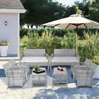 8pcs Gray Rattan Wicker Chair&table Outdoor Sofa Yard Patio Garden Furniture Set