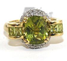 Fine Cushion Cut Peridot Solitaire Ring w/Diamond Halo 18k Yellow Gold 3.29Ct