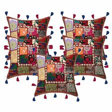 """Indian Patchwork Kodi Tassels 16"""" Throw Pillowcases Cotton Ethnic Cushion Covers"""