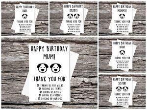 funny cute birthday card from the dog mum dad brother sister etc  #2