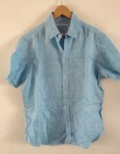 M&S Linen Shirt S Blue Stripe <R18130