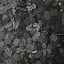 6mm Flat SEQUIN PAILLETTES ~ BLACK Matte SILK FROST ~ Round Disc ~ Made in USA