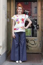 Damen Jeans Hose pants blau blue 70er True VINTAGE 70´s women lang Schlaghose