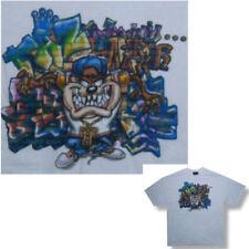 LOONEY TUNES! TAZ DEVIL GRAFFITI WHITE T-SHIRT S NEW!