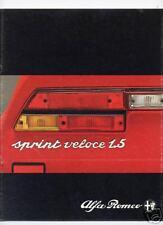 Katalog Dépliant ALFA ROMEO  Sprint Veloce 1.5