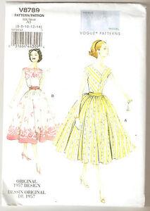 Vogue Pattern V8789 Vintage 1957 Miss Petite Dress and Cummerbund Sz 6-14