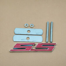 Metal Mount Front Grille Silver & Red SS Badge Letter Trim Emblem For Chevrole