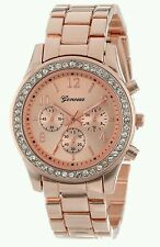 GENEVA CRYSTAL LADIES ROSE GOLD STAINLESS STEEL WRIST WATCH FOR SALE